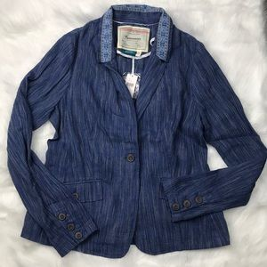 $128 Anthro Cartonnier Linen/Cotton Blazer Sz 10